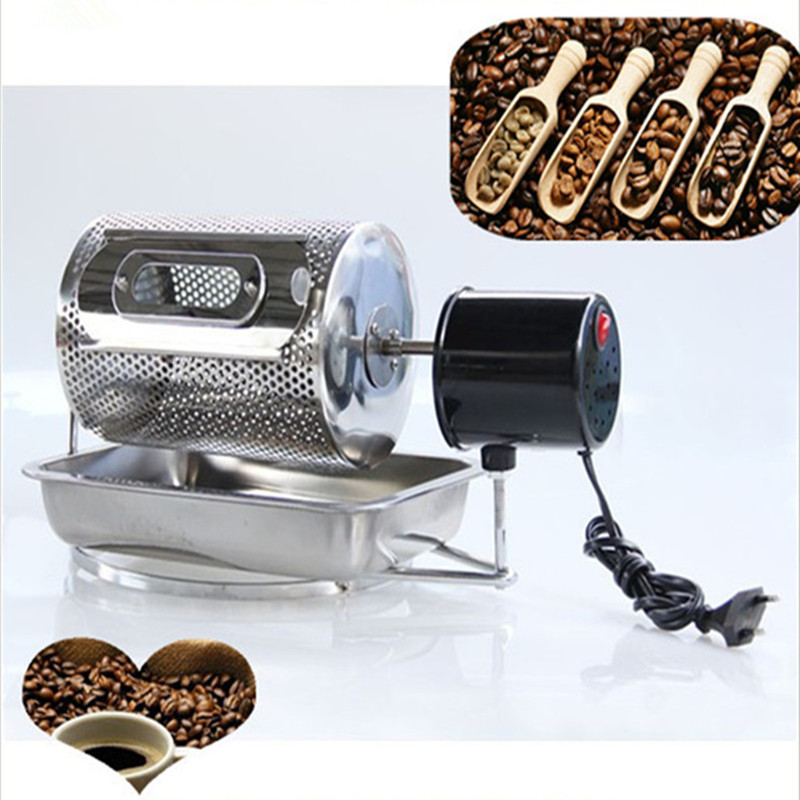 Electric stainless steel coffee roaster machine peanut cashew chestnuts roasting baking equipment 110v 220v image
