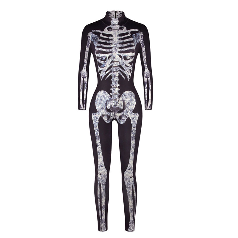 Adult Women Halloween Scary X-Ray Fever Skeleton Bone Printed Costume Bodysuit Jumpsuit Black Grey Catsuit Outfit For Ladies