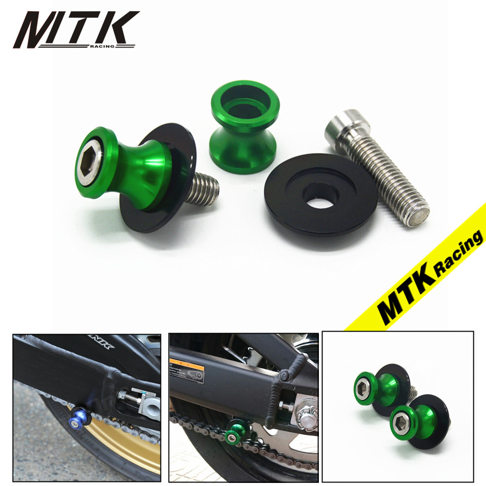 MTKRACING 8MM CNC Aluminum Motorcycle Swingarm Sliders Spools Paddock Stand Bobbins Swing Arm For KAWASAKI ZX10R ZX6R 11-14 2pcs universal motorcycle stand screws cnc swingarm swing sliders spools m6 m8 m10 for yamaha r3 honda crf 450 suzuki gn250