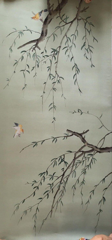 Классический стиль Элегантный Ручная роспись шелковые обои картина ива дерево с птицами обои много искусства/фон опционально - 4