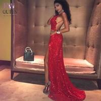 Tobinoone V Neck Sequined Party Dress Backless Bodycon Mermaid Maxi Dress Elegant Sleeveless Evening Party Dresses Vestidos