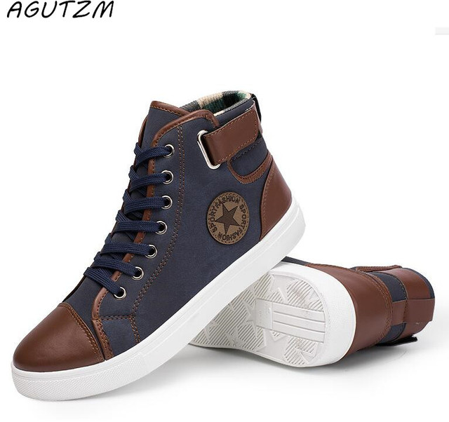 6b77308a5a3 US $14.22 11% OFF|2018 New Arrive Men Causal Shoes Autumn Winter Front Lace  Up Leather Ankle Boots Shoes Man Casual High Top Canvas Men -in Men's ...