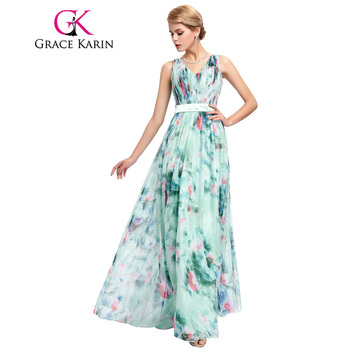 Grace Karin Prom Dress Floral Print Vestidos V Neck Full Length Wedding Party Elegant Chiffon Long Special Occasion Dresses 2017