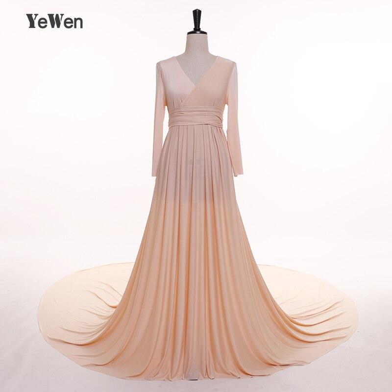 YeWen Вязание Шампанское V шеи Ватто Поезд вечернюю платье Для женщин беременных Платья 2018 одежда с длинным рукавом ремень