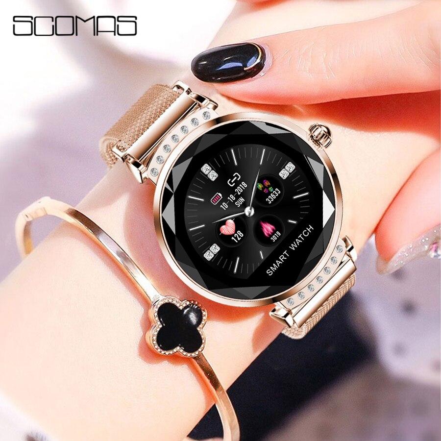 SCOMAS luxe femmes montre intelligente diamant verre fréquence cardiaque moniteur de pression artérielle Tracker pour iOS Android Smartwatch