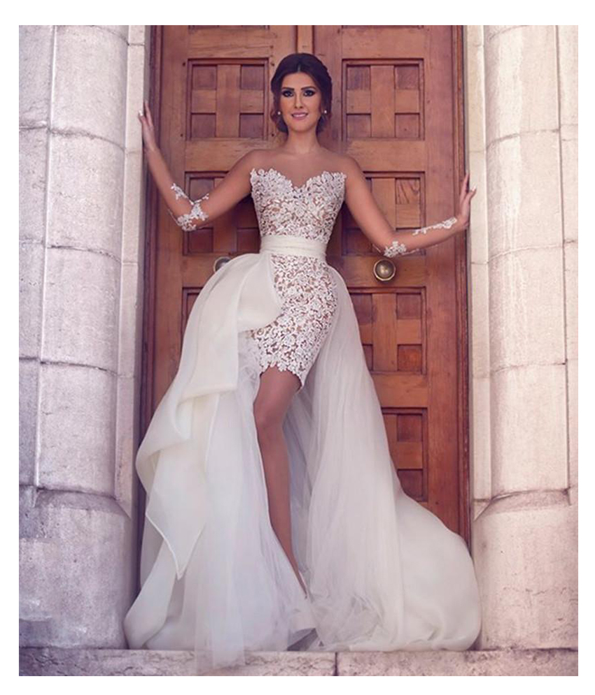 LORIE 2019 New Princess Wedding Dress Scoop Appliqued Detachable Train Wedding Gown Long Sleeves Boho  Free Shipping Bride Dress