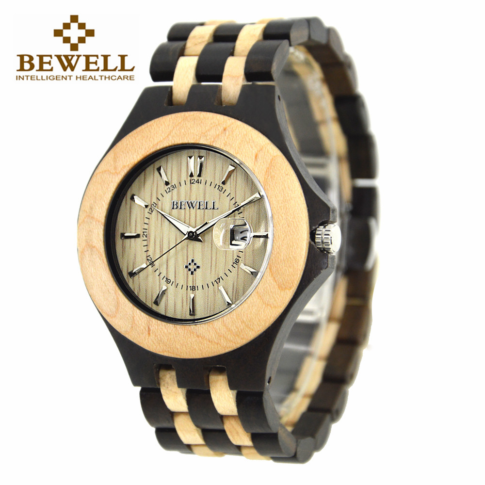 BEWELL Wood Watch Men Quartz Movement Clock Wooden Wristwatch Man Fashion and Casual Watches 080A bewell natural wood watch men quartz watches dual time zone wooden wristwatch rectangle dial relogio led digital watch box 021c