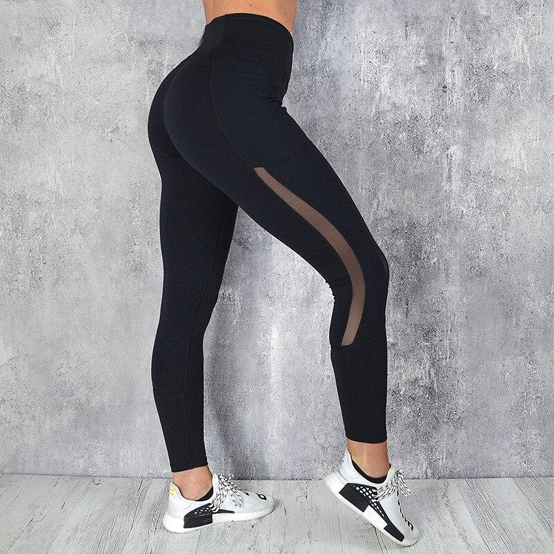 CHRLEISURE High Waist Pocket Leggings Solid Color Workout leggings Women Clothes 2019 Side Lace Leggins Mmujer 5