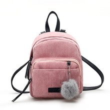 Canvas Mini Backpack Women Fashion Fuzzy Ball Zipper Bags Removable Straps Girls Casual Bagpack mochilas mujer 2019 removable fuzzy ball decorated corduroy graphic hat