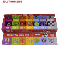 7Pcs Super Brain Teaser Set Metal Puzzle Wooden Kong Ming Lock For Children Adults Christmas Gift