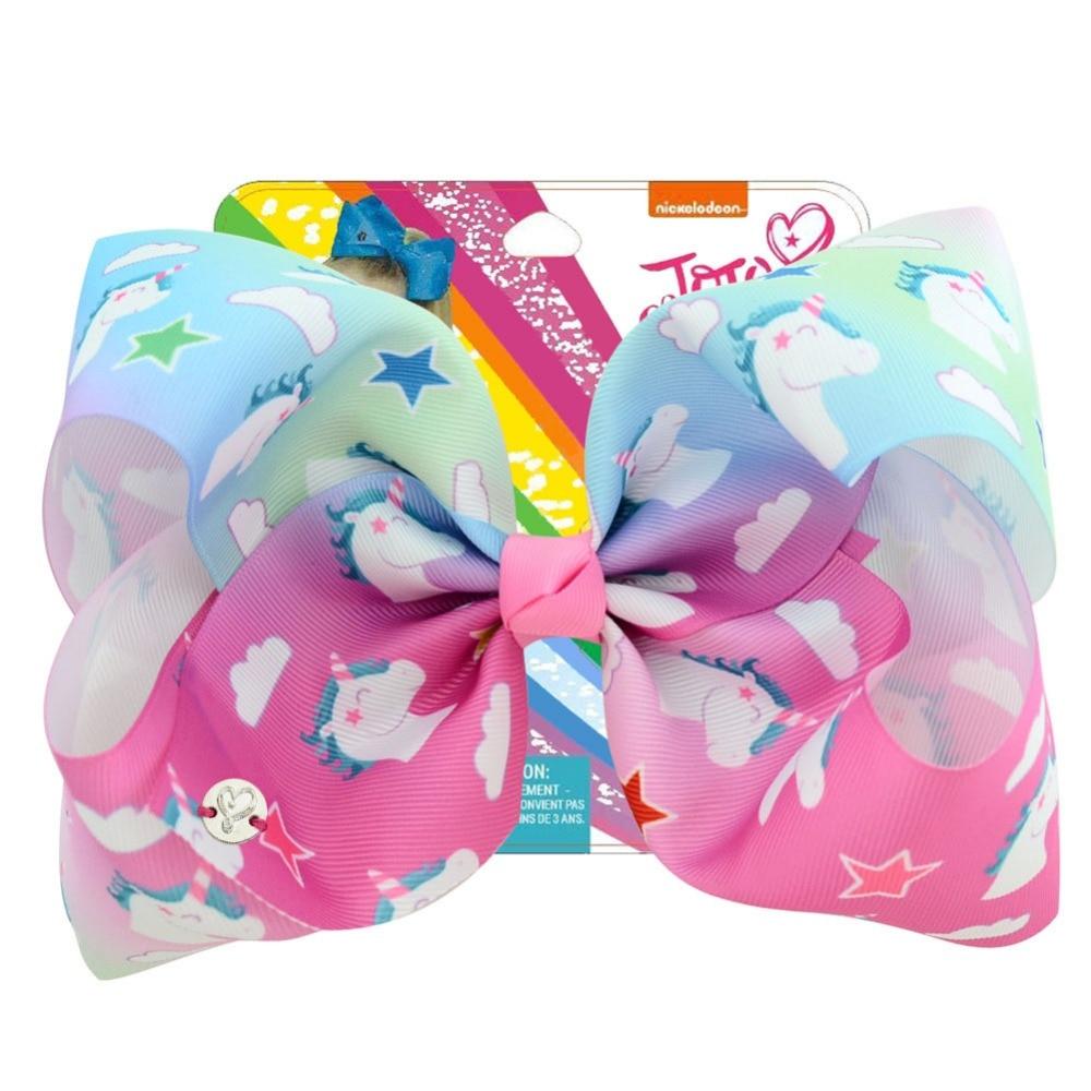 1 Stuk 8 Inch Haarelastiekjes Regenboog Eenhoorn Hair Bows Met Clips Voor Kids Meisjes Haarspelden Handgemaakte Haar Accessoires Voor Meisjes Hot Sale 50-70% Korting
