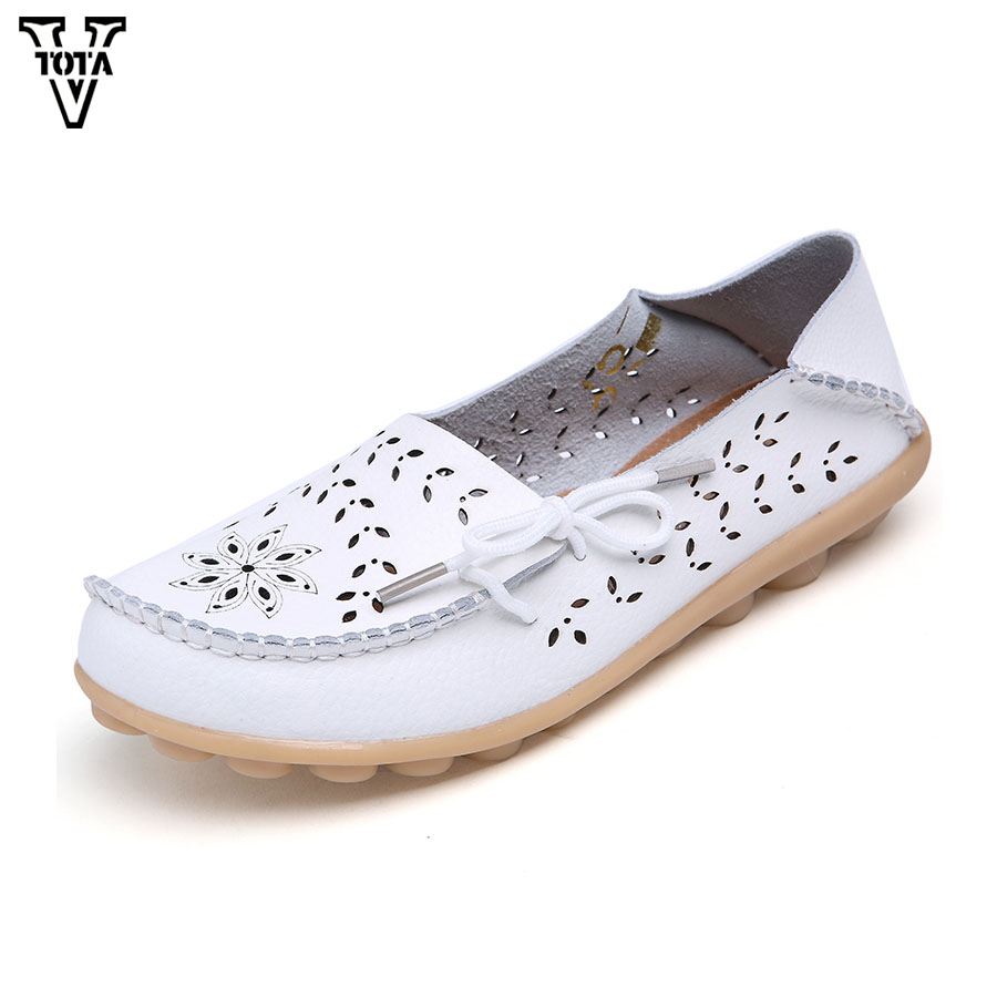 VTOTA Fashion Summer Shoes Woman Round Toe Women Flats hollow out comfortable Casual Shoes Loafers Wild Breathable Driving Shoes