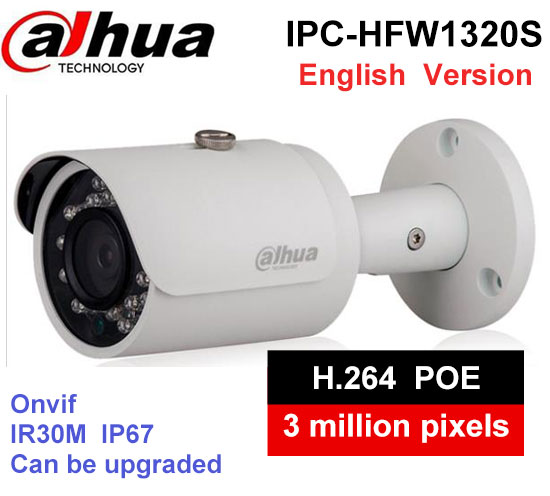 Original DAHUA 3MP IP Bullet Camera IPC-HFW1320S 1080P support poe function waterproof IP67 IR 30m security CCTV camera dahua 3mp ir waterproof