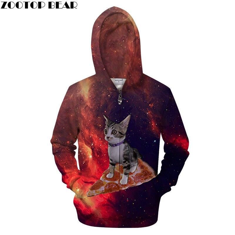Cat Pizza Zipper Hoodies Men 3d Sweatshirt Zip Hoodie Brand Sweatshirt Drop Ship Printed Tracksuit Animal Streetwear ZOOTOP BEAR