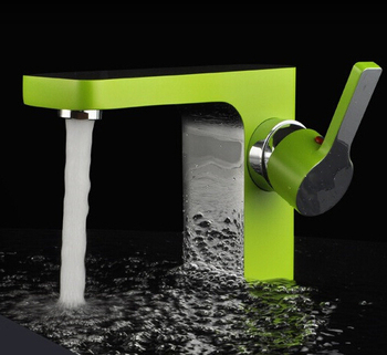 Modern Green Painting & Chrome Square Brass Bathroom Vanity Sink / Basin Torneira Cozinha Faucets Mixers Taps (UP-2015323)