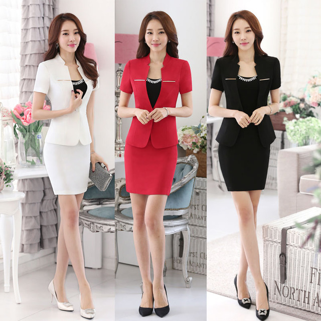 Red white and black career dress