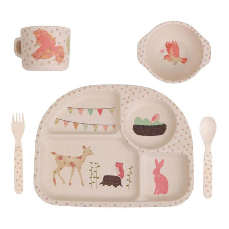 5pcs/set Character baby Plate bow cup Forks Spoon Dinnerware feeding Set100% bamboo fiber kid cartoon tableware set ykd 20-in Dishes from Mother \u0026 Kids on ...  sc 1 st  AliExpress.com & 5pcs/set Character baby Plate bow cup Forks Spoon Dinnerware feeding ...