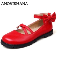 ANOVISHANA 2019 New Shoes woman Flats Ladies spring summer shoes Round toe Buckle Bowtie Cross tied Solid Cute Lovey RubberA1701