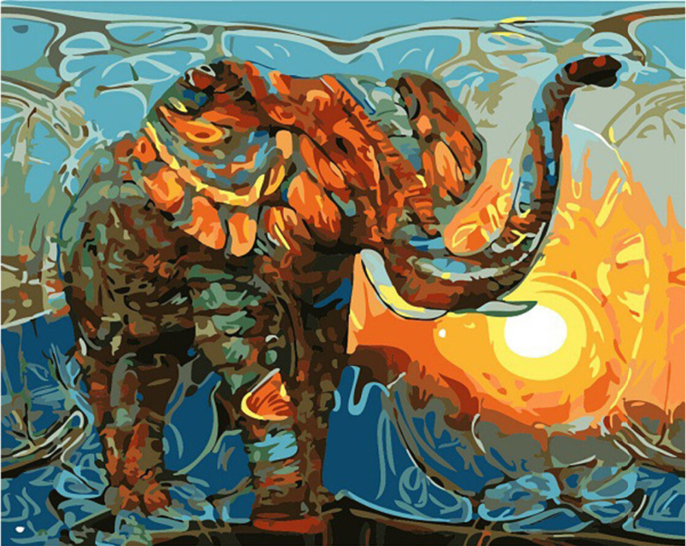 Elephant DIY Oil Painting By Numbers No Frame Drawing Kits Picture On Canvas Home Decoretive Painting Wall Art GX7997 ...