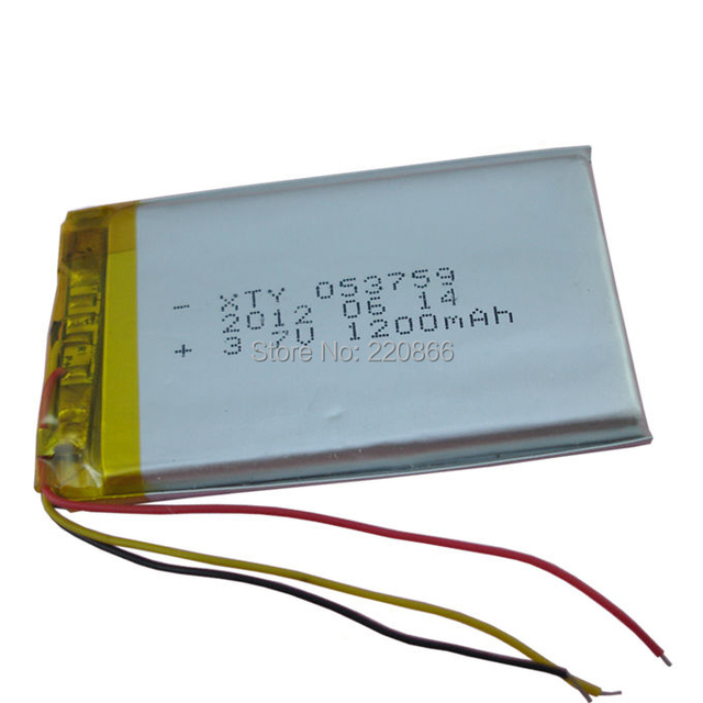 Lithium li polymer battery with 3 leading wire 1200 mAh 053759 with ...