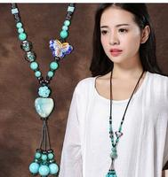 Hua Tian CuO long folk style retro Ceramic Pendant pendant chain decoration all match sweater clothes accessories