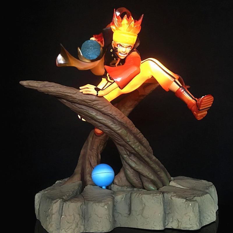 25cm Anime figure Uzumaki Naruto celestial Nine tails mode PVC action figure flash led light collection toy gift figurine naruto цены