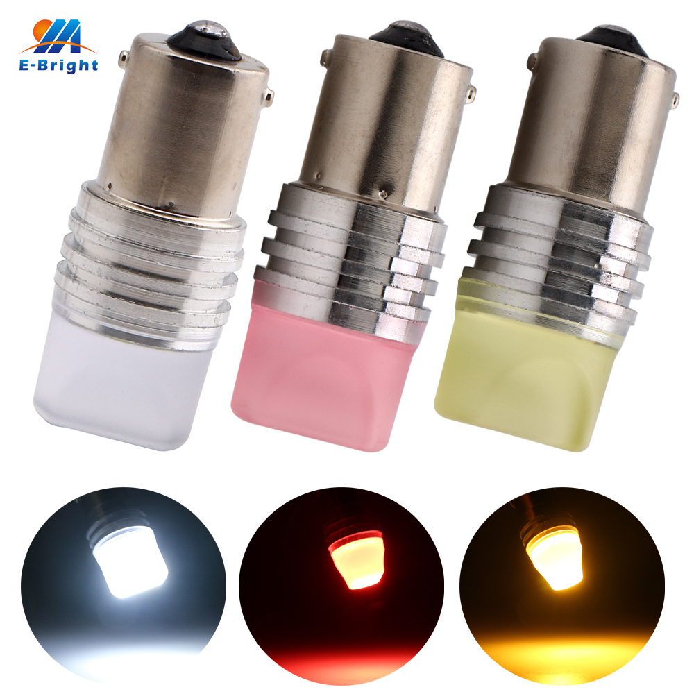 YM E-Bright 10PCS S25 1156 BA15S 2835 9 SMD <font><b>P21W</b></font> Glass Car Bulb <font><b>Led</b></font> 12V Turn Signal Light White Blue Red Green <font><b>Amber</b></font> 270 Lumens image