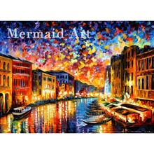 Hand Painted Landscape Abstract Venice Grand Canal Palette Knife Modern Oil Painting Canvas Art Living Room hallway Artwork Fine