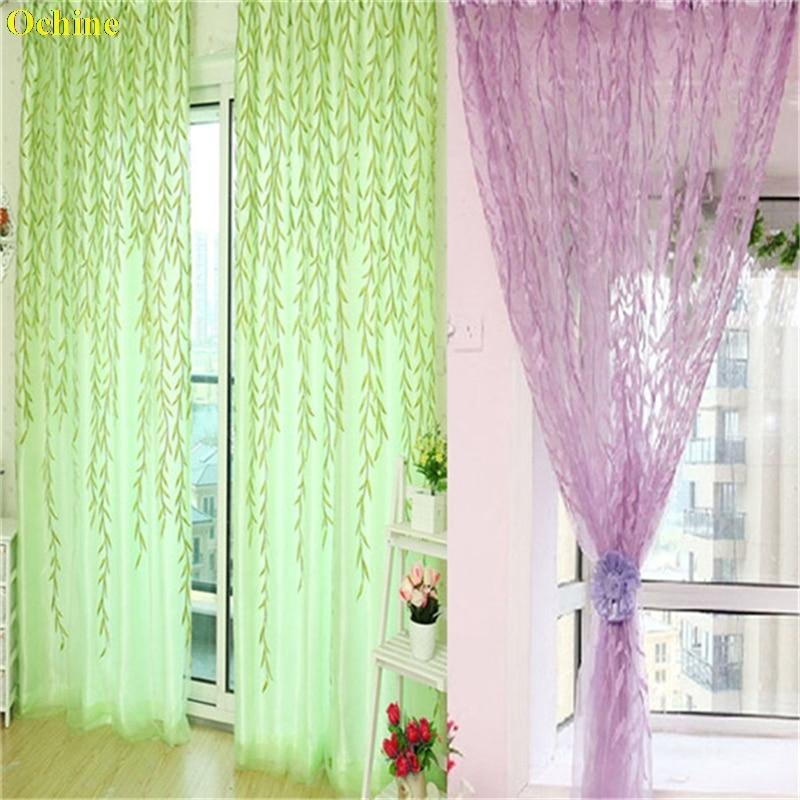 OCHINE 1 mt * 2 mt Raum Willow Pattern Voile Fenster Vorhang Sheer Panel Vorhänge Schals Vorhang Vorhänge Für Wohnzimmer