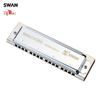 Swan SW MN Mini Chord Harmonica Silver Woodwind Instruments Accompaniment Musical Instrument Professional Orchestral Harmonicas