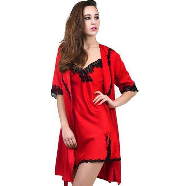 New arrival 2017 sexy womens robe set short nightwear indoor sleepwear silk lace lady bathrobe two pieces bath robes A540