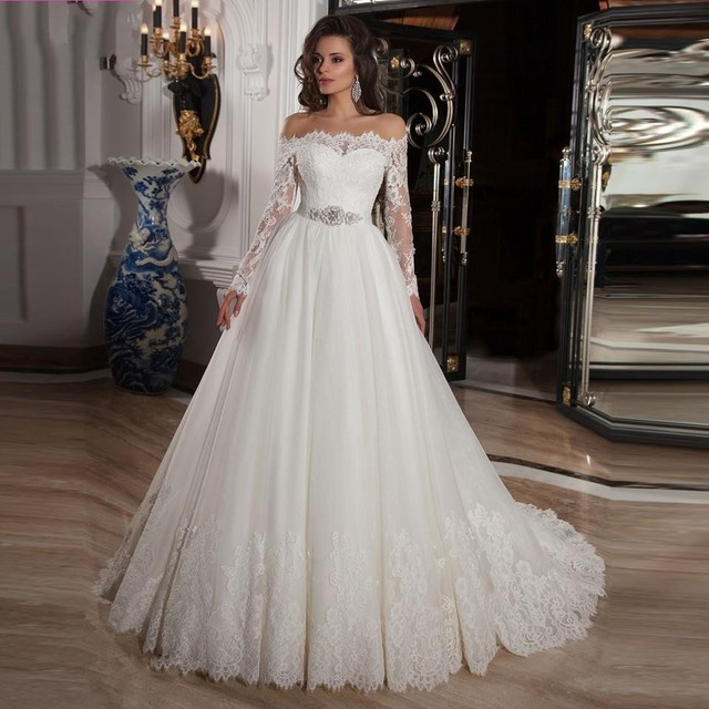 Wedding Dress 2017 Off The Shoulder A Line Lace Long Sleeve Tulle Court Train Sweetheart