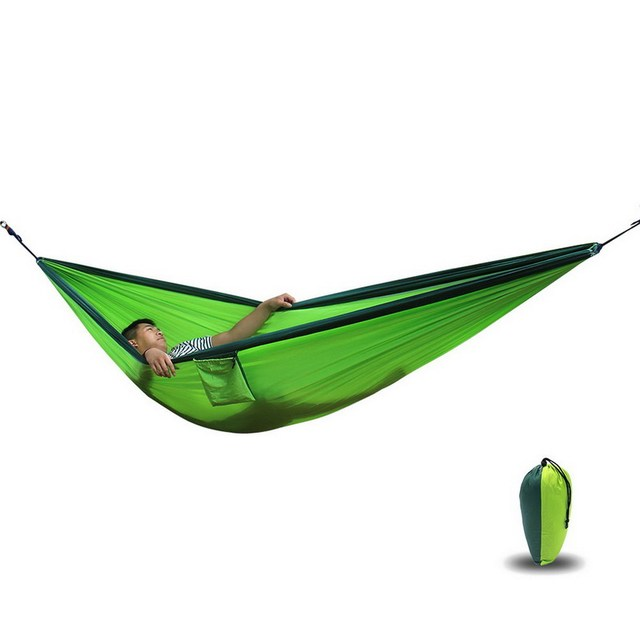 1pc New Arrival Portable 14colors Standard 2 people Parachute Nylon Fabric Travel Camping Hammock Outdoor Furniture 300x200cm