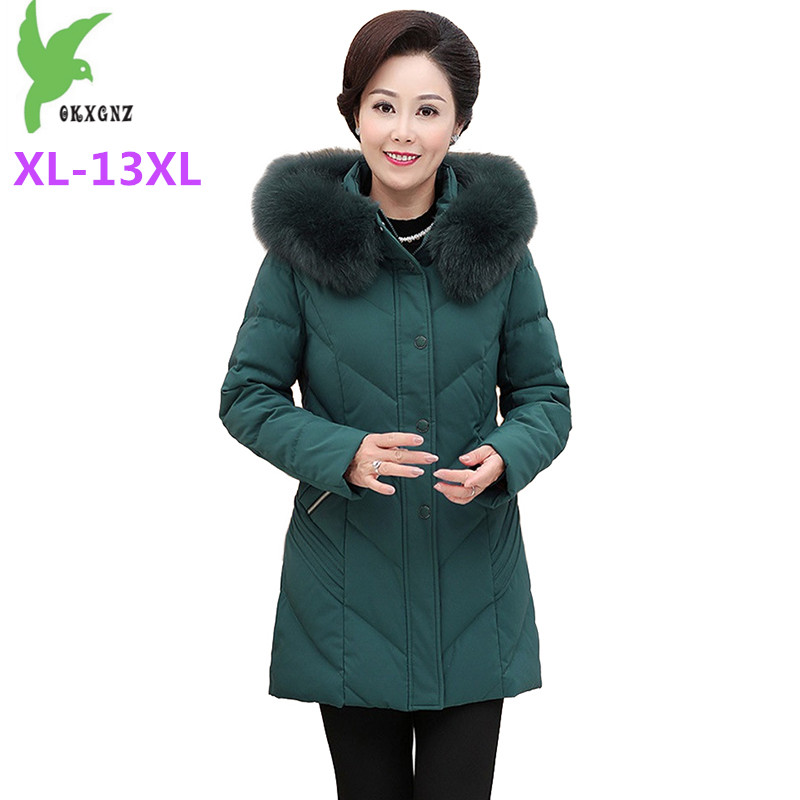 Plus size XL-13XL   Down   Jacket Women Winter Parkas White duck   down     coat   Middle aged Female Thicken Fur collar Hooded   Down     Coats