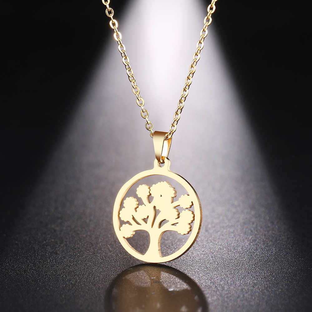 DOTIFI  Stainless Steel Necklace For Women Man Tree Of Life Gold And Silver Color Pendant Necklace Engagement Jewelry