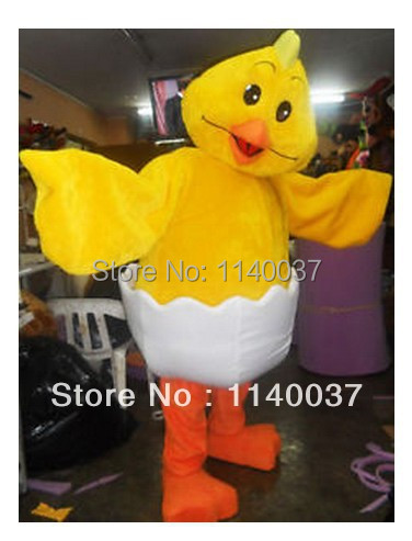 mascot Lovely New Born Yellow Chick Mascot Costume Adult Size Easter Egg Chick Cartoon Character Mascotte Outfit Suit