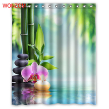 WONZOM Stone Bamboo Modern Polyester Flower Waterproof Accessories Shower Curtains For Bathroom Fabric Bath Curtain With Hooks