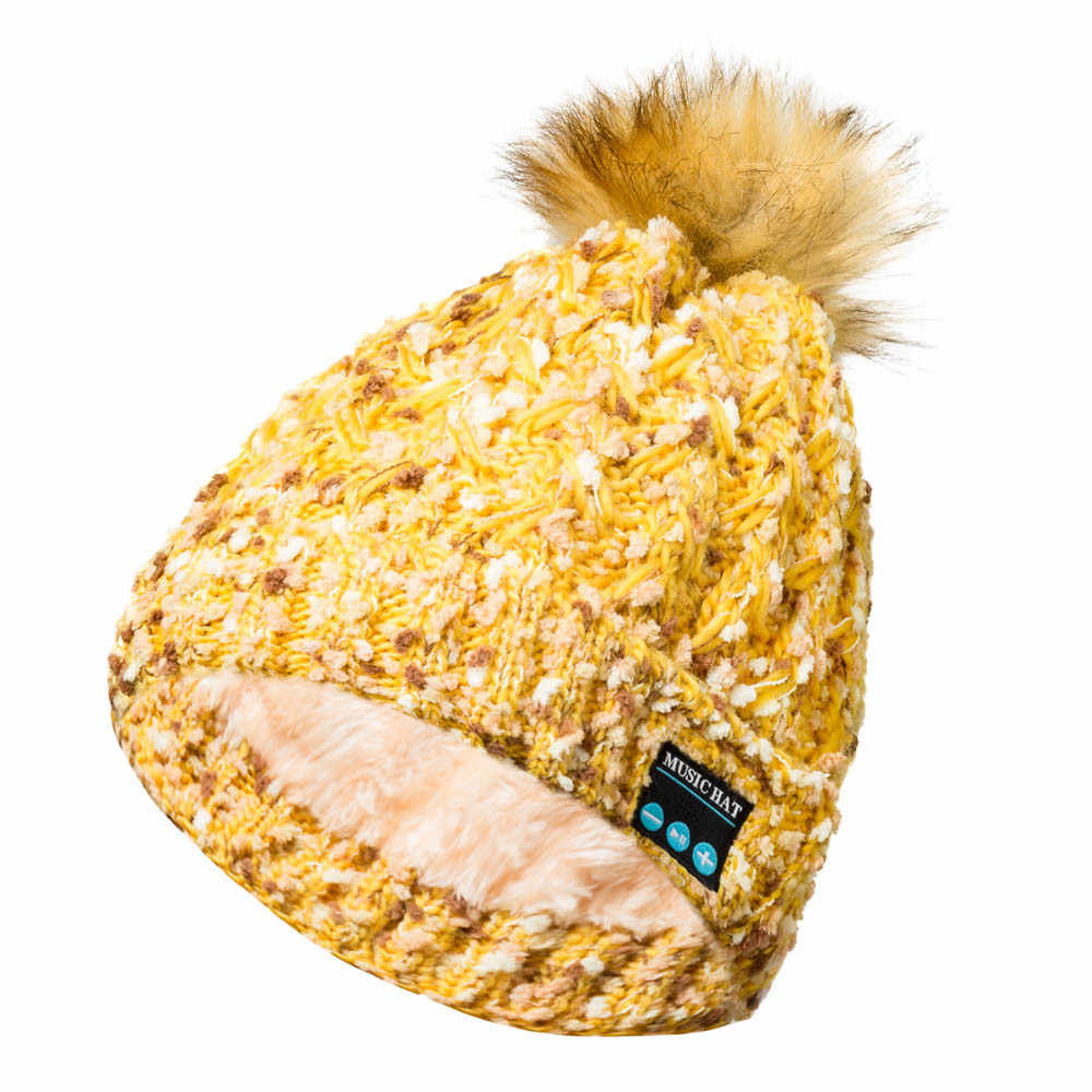 KANCOOLD moda mujer Bluetooth gorra inalámbrica de punto holgado sombrero caliente ganchillo invierno esquí gorro gorras manos libres música altavoz PJ1012
