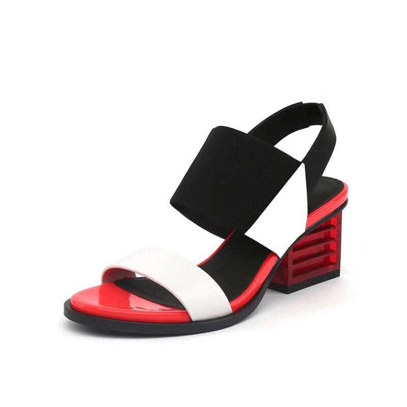95b0847bb20a2 Satın Al Kadın Sandalet Yaz Karışık Renk Temel Şeffaf Kare Topuk ...