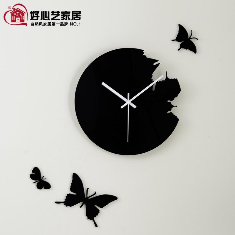 Mute Wall Clock Modern Minimalist Butterfly Pure Handmade Craft