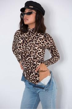 EIFER Leopard Bodysuit for Women Sexy Bodycon Skinny Body Suit Turtleneck Long Sleeve Playsuit Printed Romper Jumpsuits 10