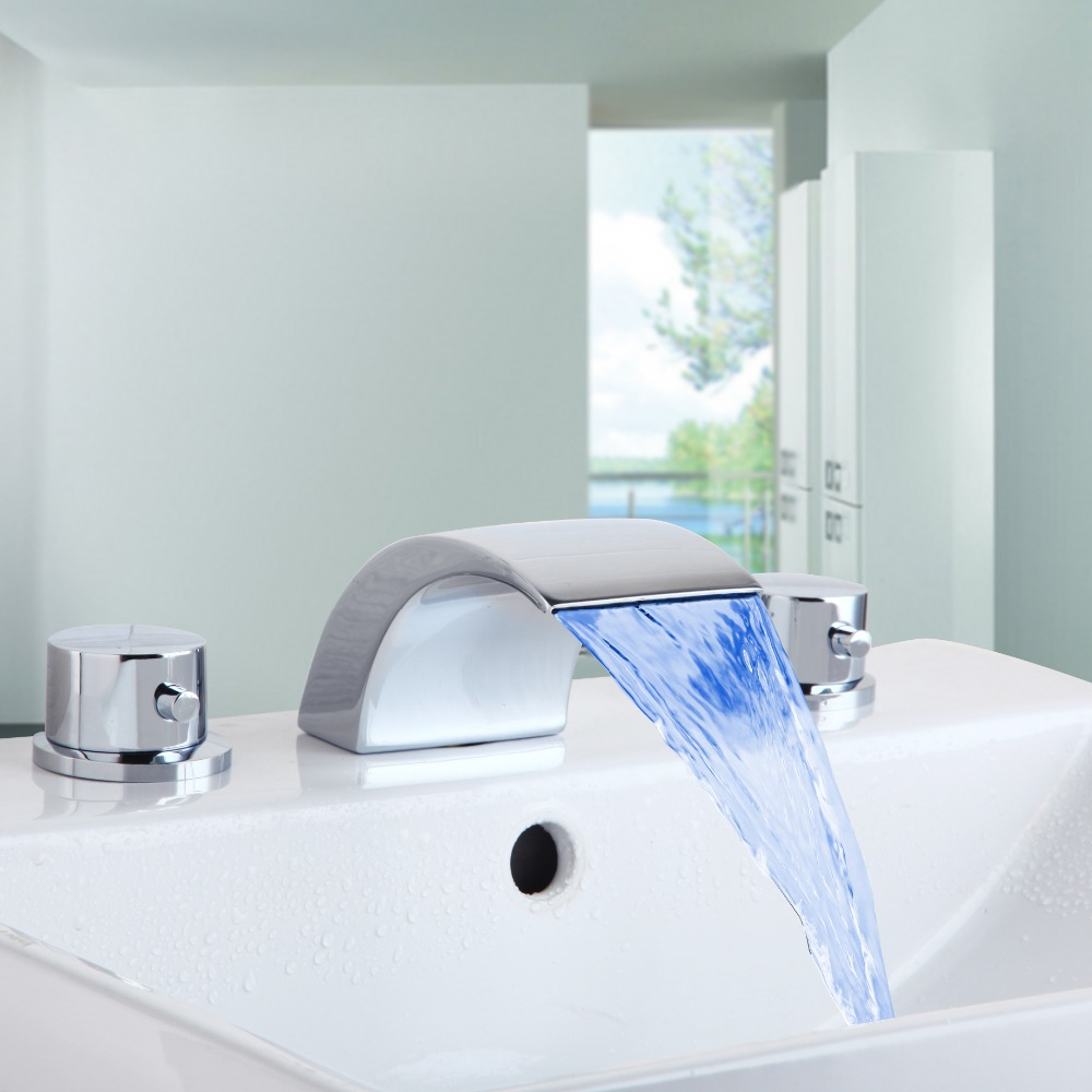 Hot Sale Wholesale And Retail Promotion Polish Chrome Waterfall Bathroom Faucet LED Roman Spout Vanity Sink Mixer Tap