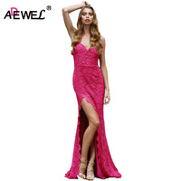 SEBOWEL Sexy High Split Elegant Floor Length Lace Party Dress Women Bodycon Vintage Spaghetti Strap Formal