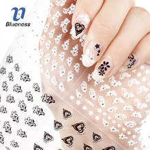 Nail Sticker 24 Nail Art Decorations Manicure Designs White Black 3D Butterfly Flowers DIY For Nails Tools Decal Sticker(China)