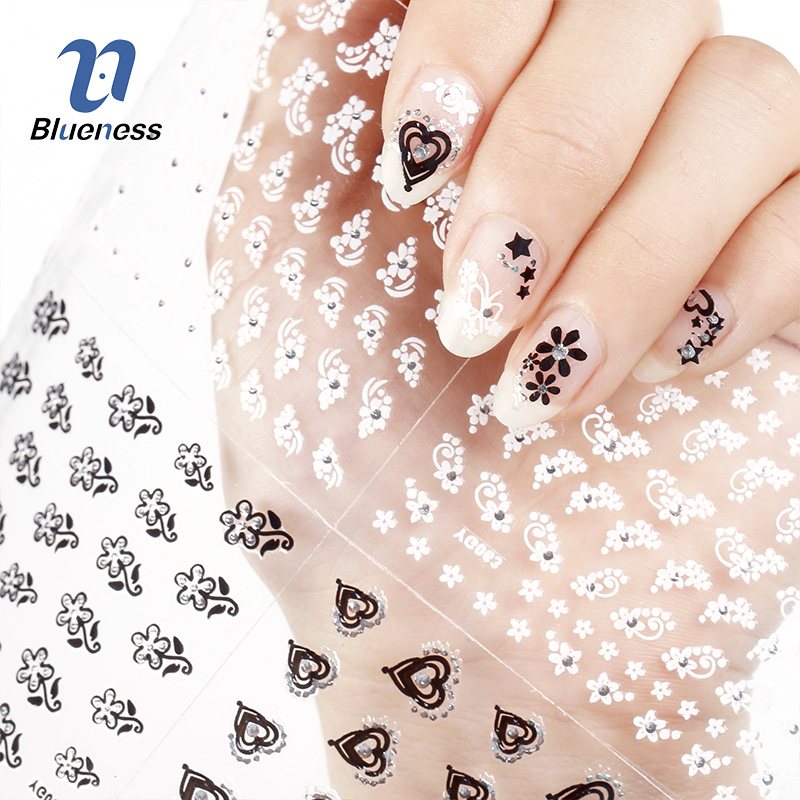 Nail Sticker 24 Nail Art Decorations Manicure Designs White Black 3D Butterfly Flowers DIY For Nails Tools Decal Sticker xf187194 3d cute pattern decorative diy nail art sticker white black 2 pcs