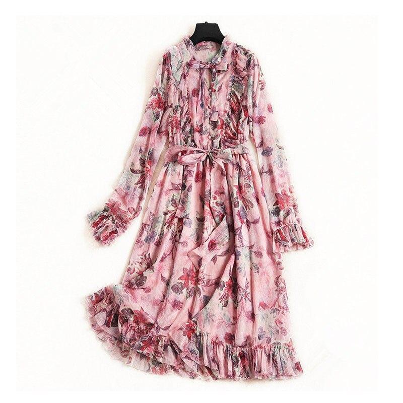 2019 luxe Falbala Maxi Robe d'été plage robes de soirée en mousseline de soie à manches longues arc ceinture luxe piste robes Robe Femme
