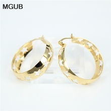 MGUB Fashion Big Size Five Star Hollow Shaped Earrings  Gold color Stainless Steel Hoop Earrings Jewelry For Women LH17