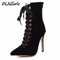 DiJiGirls Women High Heels Boots Shoes Woman Fashion Stilettos Pumps Gladiator Lace Up Strappy Booties Ankle