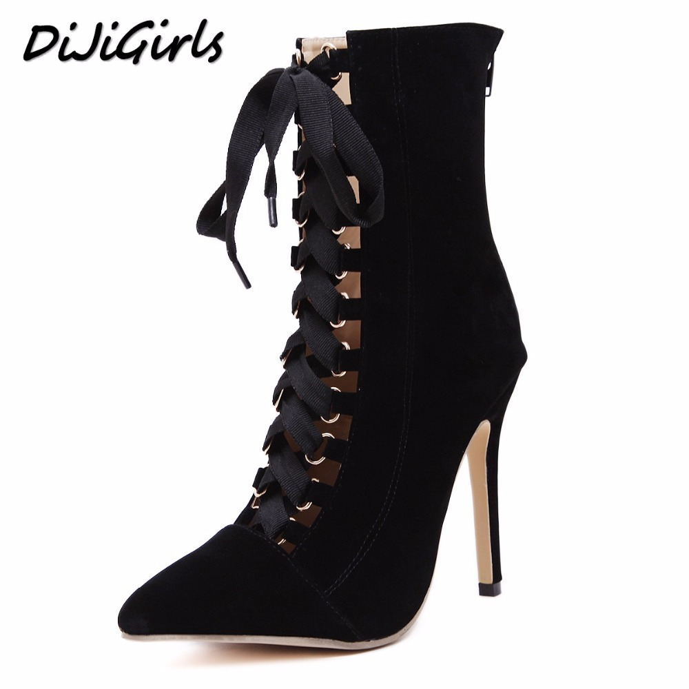 DiJiGirls Women High Heels Boots Shoes Woman Fashion Stilettos Pumps Gladiator Lace Up Strappy Booties Ankle Boots Black Pink dijigirls new women pumps fashion stripe high heels shoes woman party wedding stilettos peep toe summer boots shoes size 35 40