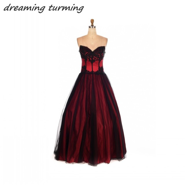 Victorian Gothic Wedding Dresses Red And Black Lace Applique Soft